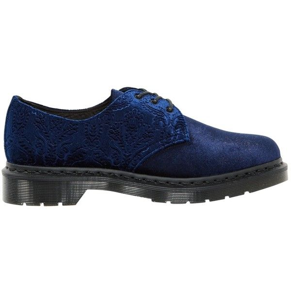 Pre-owned Dr. Martens Velvet Lace Ups (£140) ❤ liked on Polyvore featuring shoes, navy, women shoes lace ups, dr martens shoes, lace up shoes, navy shoes, pre owned shoes and laced shoes
