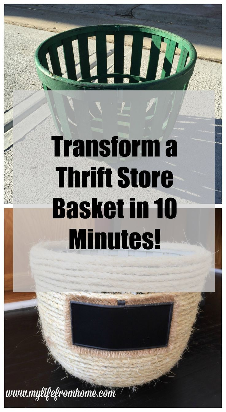 DIY: Transform a Thrift Store Basket with Sisal Rope!  Simple and Easy project which upcycles those old baskets and into new treasures! | 10 Minute project by http://www.mylifefromhome.com | rope crafts | sisal rope | upcycling | rope basket | DIY rope basket