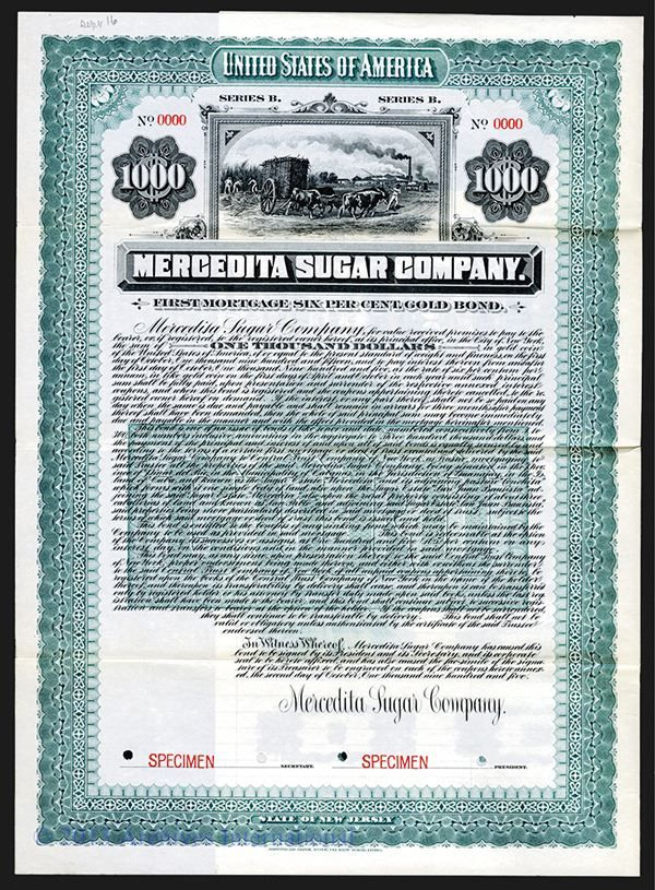 Mercedita Sugar Co. 1905. - Archives International Auctions