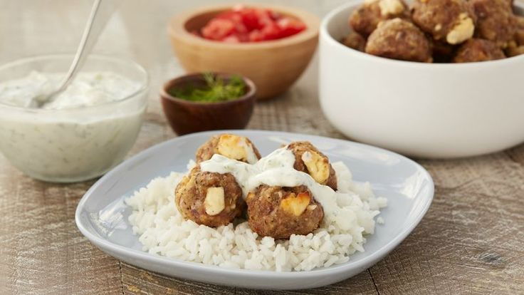 Studded with feta cheese and seasoned with lemon pepper seasoning and oregano, these oven-baked meatballs are zesty and quick to make. For a perfect appetizer, serve with easy tzatziki dipping sauce, or try stuffing them into pita bread for an outstanding weeknight meal.