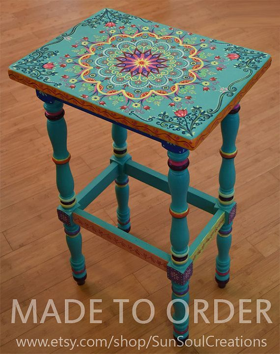 Made to Order. SOLD. This is an example. Hand painted solid wood accent table, size 17 x 12.5 x 30 inches, boho style. Painted Furniture