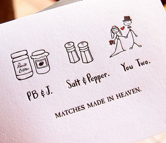 Match Made In Heaven Wedding Letterpress Card