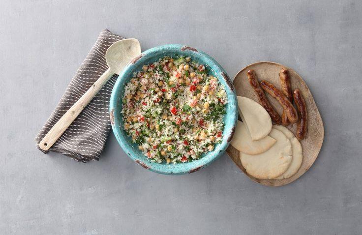 Couscous van bloemkool met kikkererwten