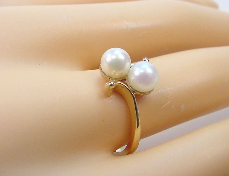 TWIN CULTURED AKOYA PEARLS 5.20 mm. VINTAGE 1950-60's 10K GOLD RING  #Harmony…