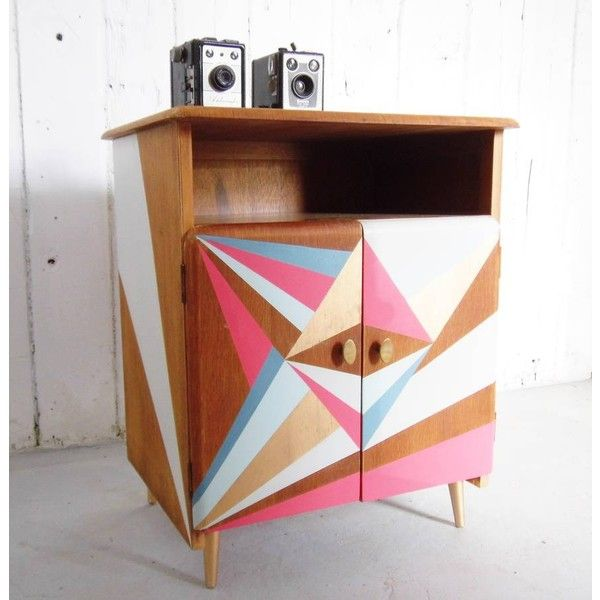 Alpha Fleur Geometric Painted Record Cabinet ($670) ❤ liked on Polyvore featuring home, furniture, storage & shelves, mid century modern furniture, midcentury furniture, painted furniture, mid century style furniture and mid-century modern furniture