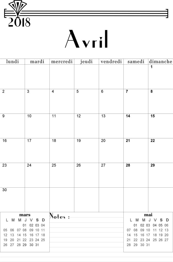Calendrier Avril 2018 à imprimer.