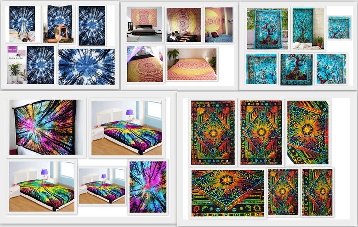 #Wholesale #Pack #Of 5 #Twin #Tapestries #Tie #Dye #Forest #Ombre #Tapestry #Bed #Sheet #Boho #Handmade #ArtDecoStyle