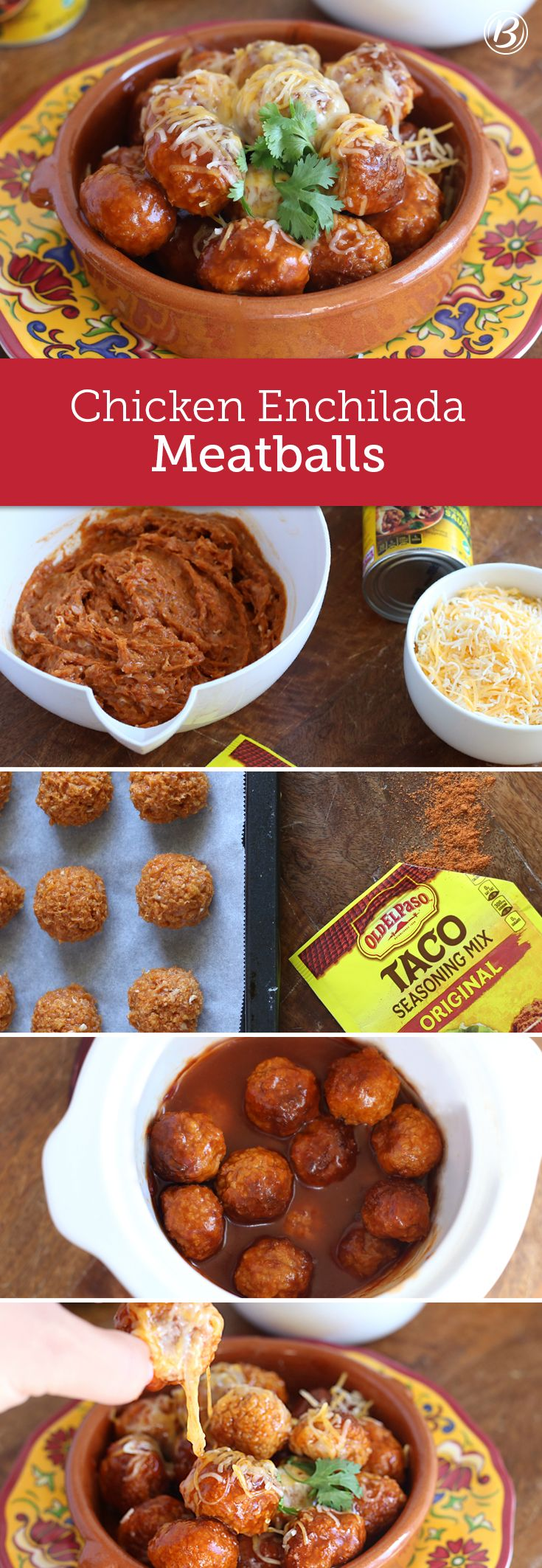 Let your slow cooker do the heaving lifting for these party-perfect 5-ingredient chicken enchilada meatballs. Serve with toothpicks as cocktail meatballs or tuck inside Old El Paso flour tortillas for killer meatball tacos or burritos.