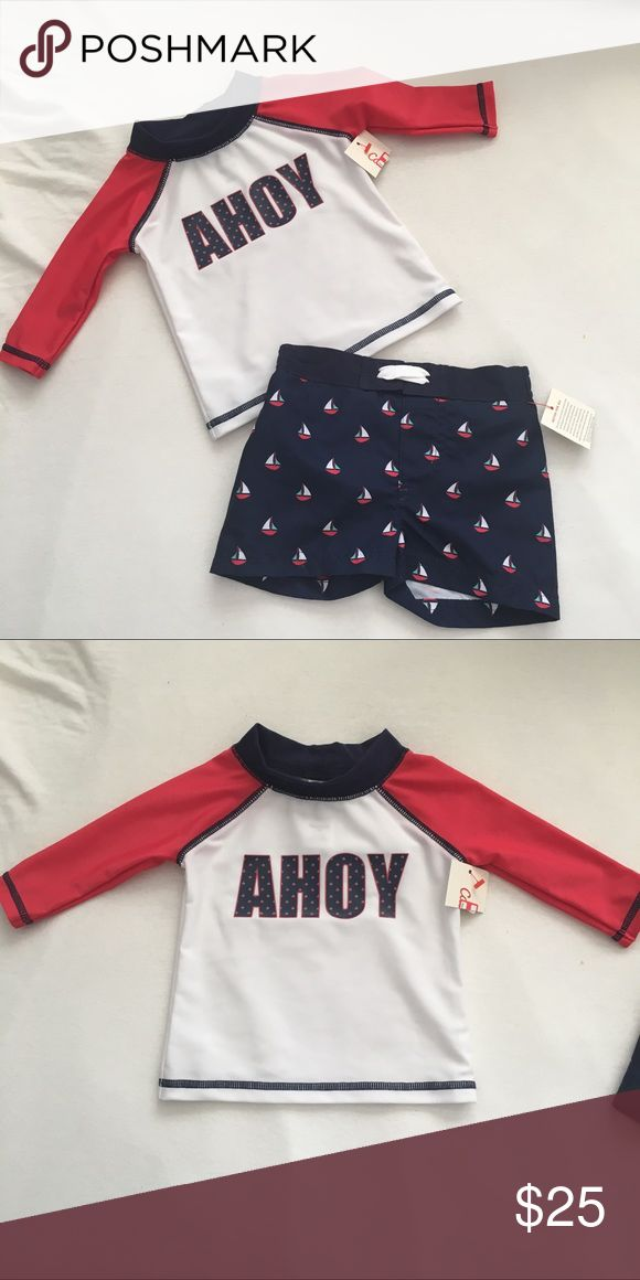 Navy blue and red sailboat swimsuit Boys blue and red sail boat swim trunks and long sleeve swim shirt. NWT.  🍁🍂🍁🍂🍁🍂🍁🍂🍁🍂🍁🍂🍁🍂 Size: fits true to size  Feel free to ask questions! All offers will be considered! I ship within 3 days max! Bundle discount of 15%! Free coupon code for next purchase with each purchase from my closet! Free shipping on bundles over $69 after the bundle discount. Simply offer $7 less on your bundle to cover the cost of shipping cat & jack Swim Swim…
