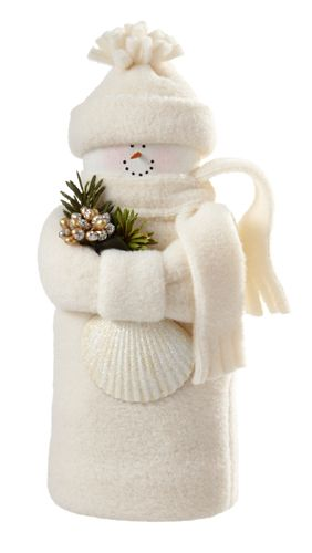 """Hearts and Ivy Collection - 7"""" White Snowman with Shell - Wooden Duck Shop"""