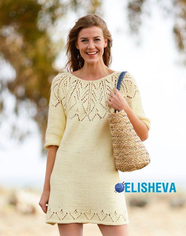 Короткое платье с круглой, ажурной кокеткой от Drops Design, вязаное спицами