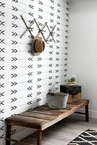 Graphic wallpaper + Wide bench = The perfect entryway.