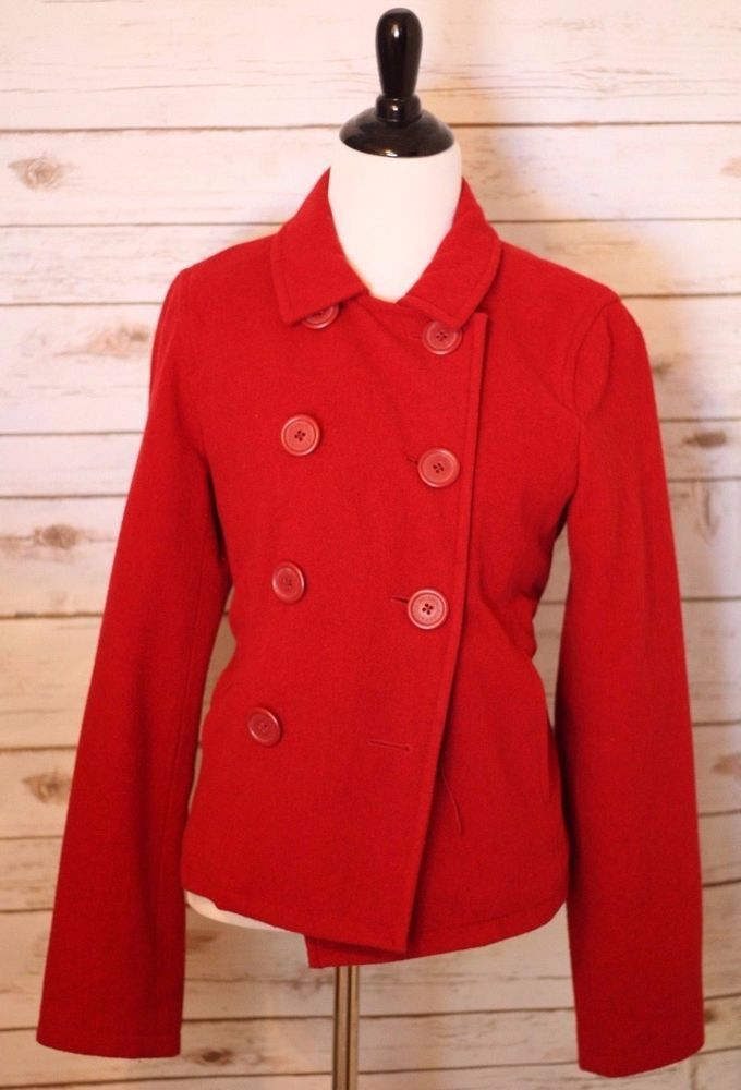 Abercrombie & Fitch Women's Wool Pea Coat Red Vintage MINT Condition $249 #AbercrombieFitch #Peacoat