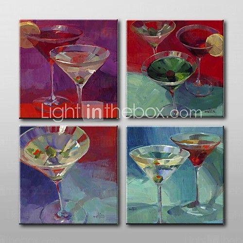 mano taza de vino pintadas aún pintura al óleo vida con juego de marco estirado de 4 - USD $159.99