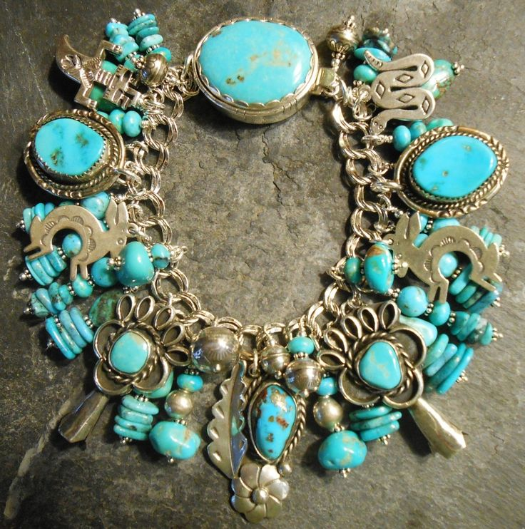 Native American Bracelet Old Pawn Turquoise Charms Vintage