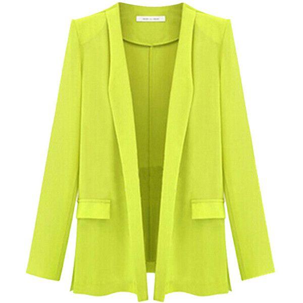 Yellow Ladies Candy Color Plus Size Blaz…