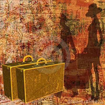 Background illustration of grunged stamps and tickets with vintage luggage