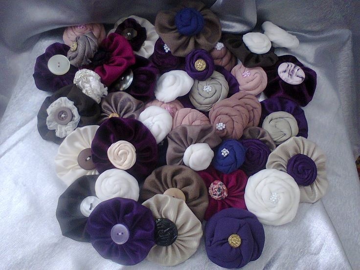 fabric flowers ready for a bouquet