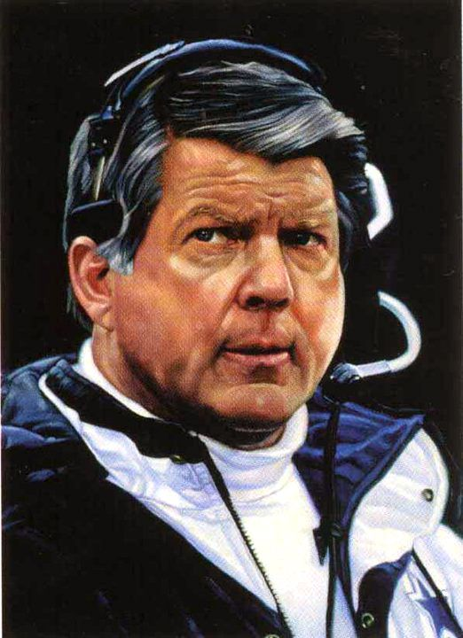 Dallas Cowboys coach Jimmy Johnson (1989 to 1993) by Chris Hopkins.