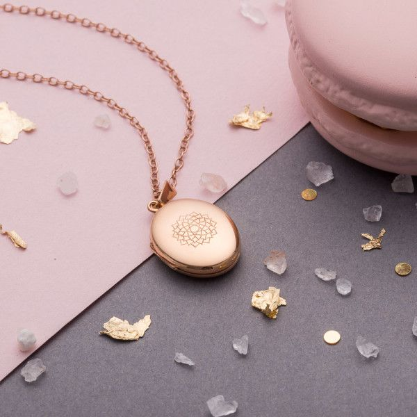 Rose Gold Chakra Locket Necklace (140 AUD) ❤ liked on Polyvore featuring jewelry, necklaces, rose gold jewellery, engraving necklaces, engraved locket necklace, engraved locket and locket necklaces