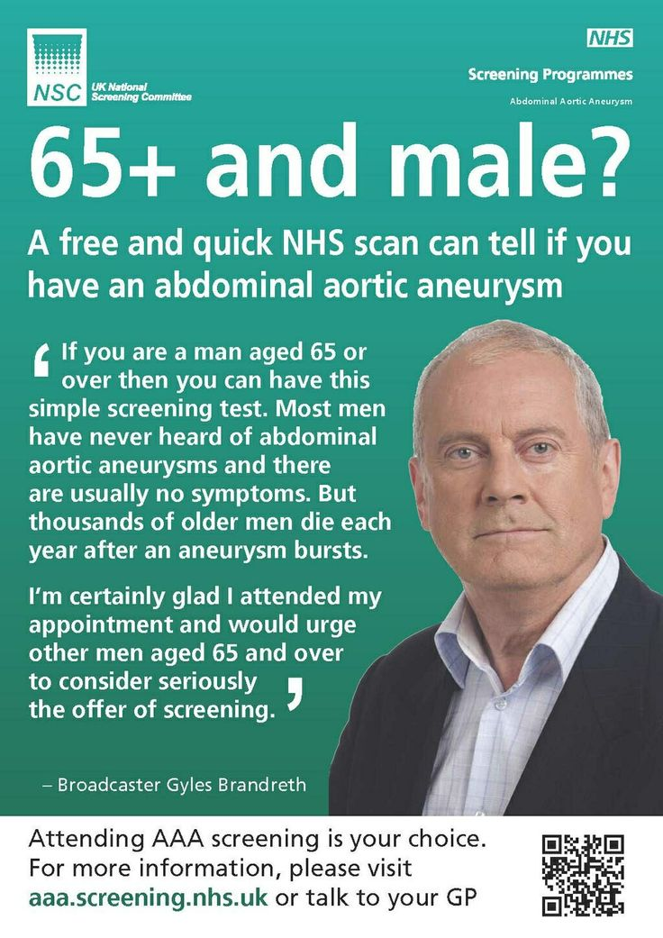 65 and male abdominal aortic aneurysm screening
