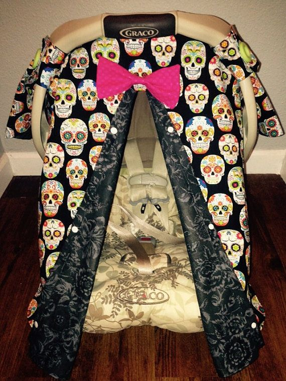 PEEKABOO Carseat Canopy Cover Sugar Skulls Day Of Dead Roses Floral Baby Girl Boy Tent Infant Carrier Car Seat