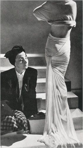 "Madame Grès  ""While not as well known as Vionnet, Chanel or Schiaparelli, Gres was also an influential couturier,"" Granata said. The designer is best known for her classically inspired floor-length pleated gown, and Minniti calls her ""the master of the wraped and draped dress."""