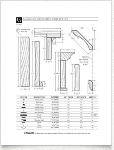 WindsorONE - dimensioned drawings classical craftsman molding