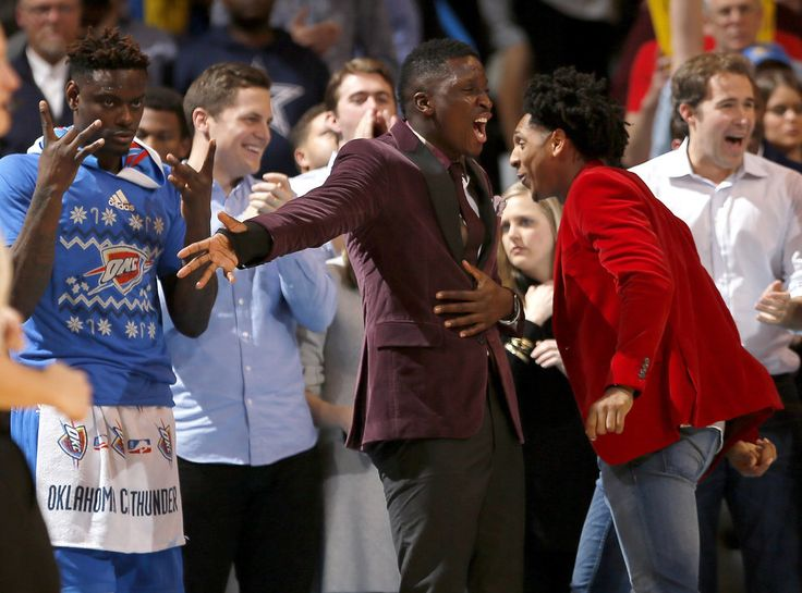 Oklahoma City's Anthony Morrow (2), Victor Oladipo (5) and Cameron Payne (22) celebrate during the NBA game between the Oklahoma City Thunder and the Minnesota Timberwolves at the Chesapeake Energy Arena, Sunday, Dec. 25, 2016. Photo by Sarah Phipps, The Oklahoman