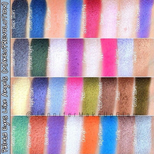 #Swatches Paleta EYES LIKE ANGELS de MAKEUP REVOLUTION @makeuprevolution @makeup_rev_es #jennifermakeupglam #jmug #makeup #beauty #eyeslikeangels #eyeshadow #eyeshadowpalette #palette
