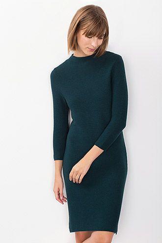 Esprit / Gebreide jurk met turtleneck, 100% katoen