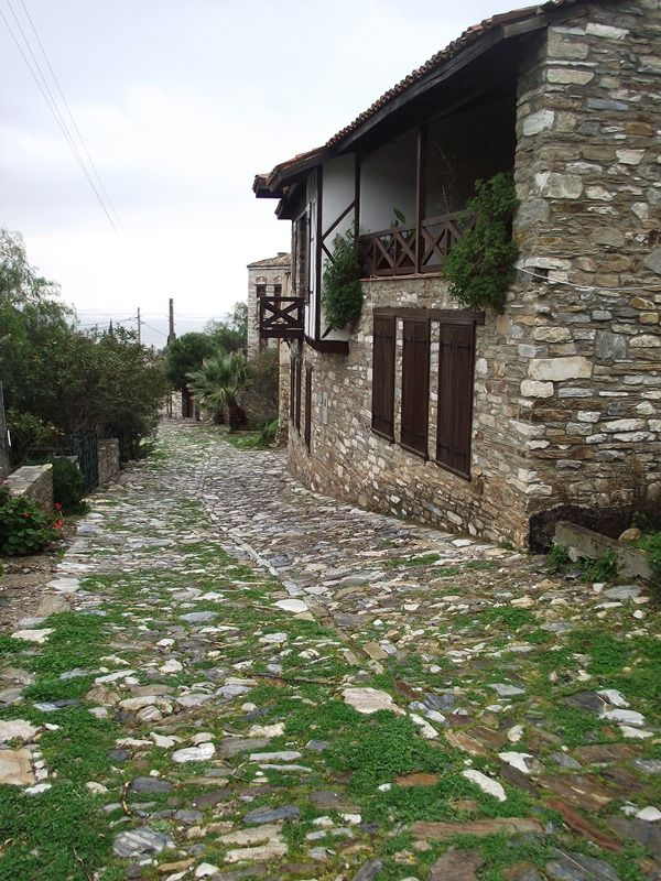 The Cobbled streets of an old Greek village on the Aegean coast of Turkey