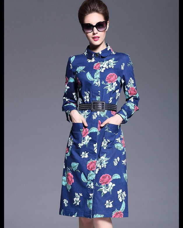 NOTE :  Details Size : See Picture  Noble Temperament Women Long Sleeve Floral Printing Doll Neck Denim Dresses    100% Free Shipping (7-20 Business days) Via Standard Shipping with...