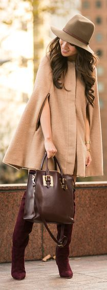 the cape! the bordeaux! everything about this look is so on point