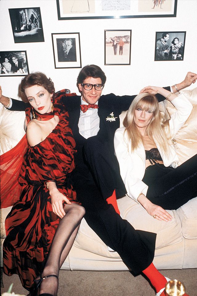 Yves Saint Laurent with Loulou de la Falaise and Betty Catroux, 1978. Photography by Guy Marineaux