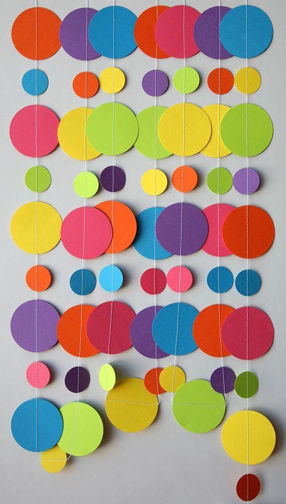 Guirnalda de papel arco iris decoraciones de por TransparentEsDecor
