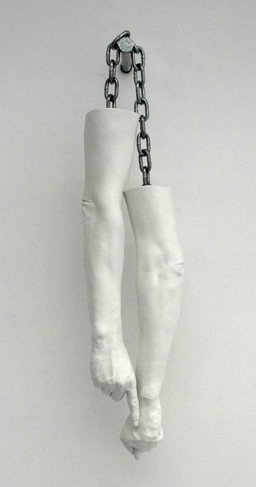 Kendell Geer - In advance of a broken arm, 2010, painted bronze and chains, 81 x 8 x 20 cm