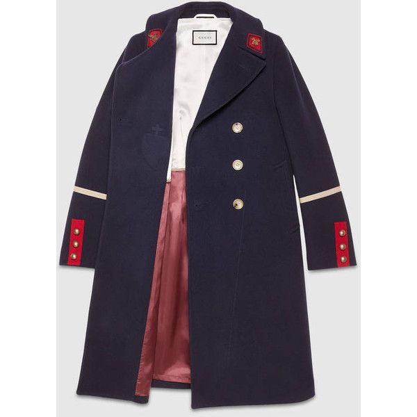 Gucci Wool Cashmere Coat (€2.785) ❤ liked on Polyvore featuring men's fashion, men's clothing, men's outerwear, men's coats, mens double breasted coat, mens military coat, mens fur collar coat, mens wool cashmere coats and mens double breasted wool coat