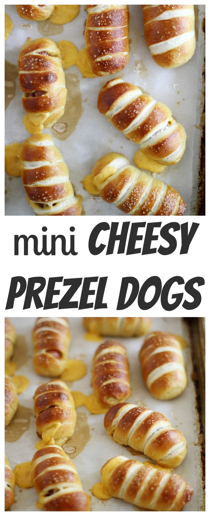 Mini Cheesy Pretzel Dogs. Bite sized hotdogs wrapped in soft pretzels and stuffed with cheese. WOW! A must make for game day and super bowl!