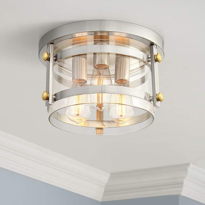 Eagleton 13 1 2 Wide Brushed Nickel Led Ceiling Light 64r96 Lamps Plus Ceiling Lights Led Ceiling Lights Farmhouse Ceiling Light