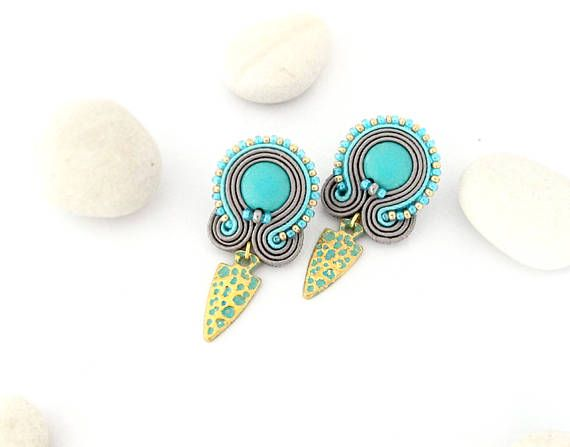 Turquoise stud earrings grey turquoise earrings stud grey