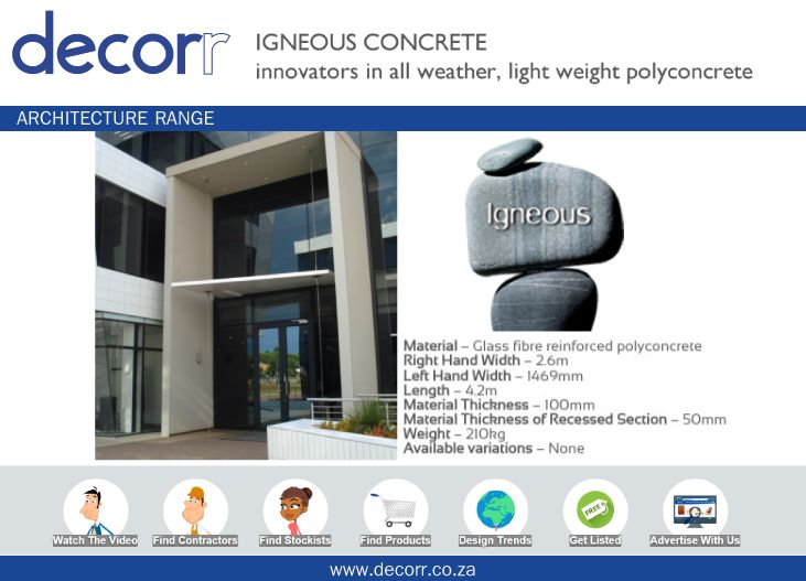 #DecorrOutdoor Architecture Range: Entrance Canopy at http://www.decorr.co.za/igneous-concrete  #decorrpromo