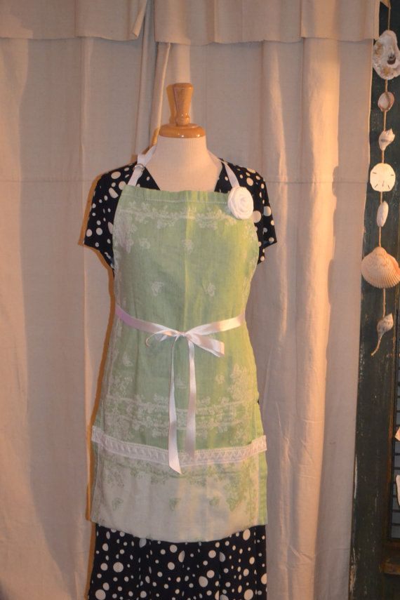 Apron Upcycled from Dinner Napkins by AcornHillHome on Etsy, $28.00