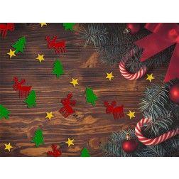 Konfetti Weihnachten - Rentier, Tannenbäume, Sterne