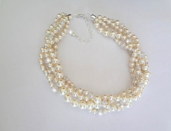 Chunky Pearl necklace  Swarovski crystal and by QueenMeJewelryLLC