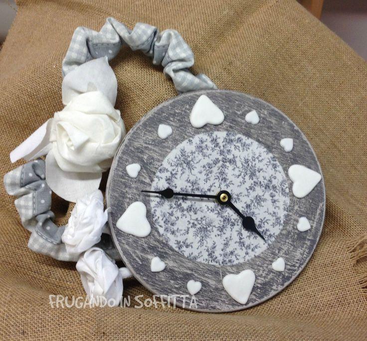 orologio da parete shabby decorazioni in pasta gabrylea