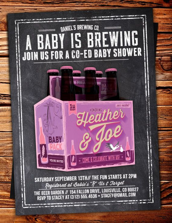 coed baby shower invitation beer baby shower by lyonsprints