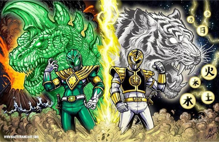 Mighty Morphin' Green & White Rangers with Dragon & Tigerzord