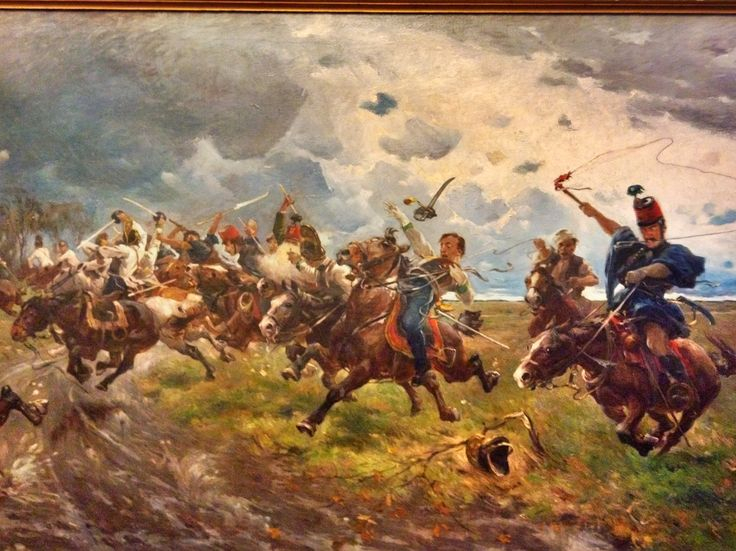 Austrian Cuirassiers being ambushed by Hungarian Honvéd Hussars and Irregulars 1848/49 - Béla Juszko, 1903