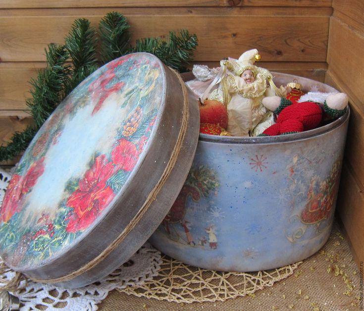 """Купить Короб для елочных игрушек """"Рождественские сани"""" - комбинированный, короб для хранения, короб, коробочка для подарка"""